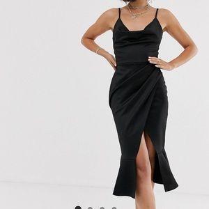 Black Asos cami cowl neck midi dress